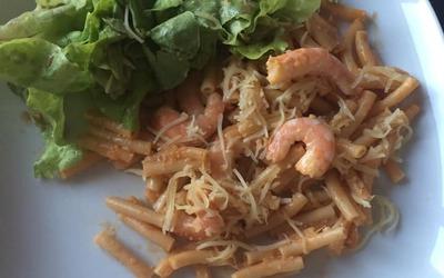 Pâtes aux crevettes à l'ail et citron