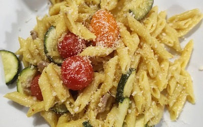 Pastasotto Courgettes Tomates Lardons