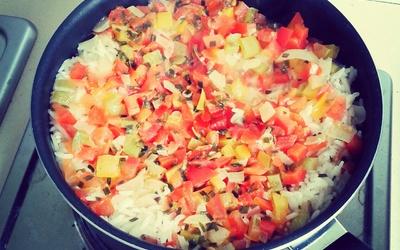 Risotto aux poivrons et tomates
