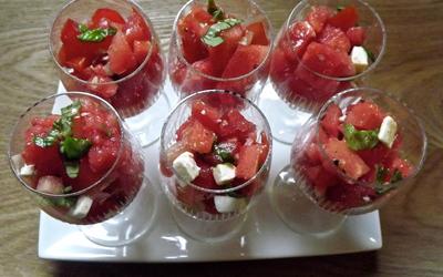 Salade de pastèque, tomate et féta