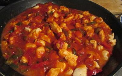 Accompagnement escalope, poivron avec sauce