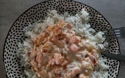 Risotto au saumon & champignons