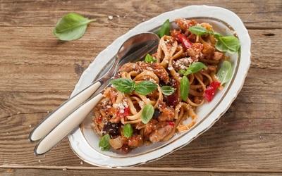 Pâtes à la viande hachée-pesto-chavroux-légumes