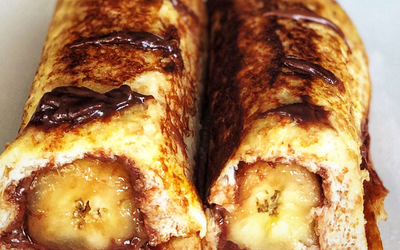 Pain perdu roulé banane chocolat