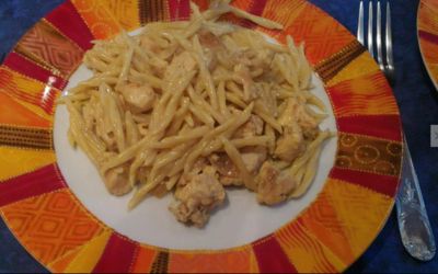 Pâtes Poulet-curry-miel