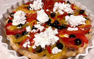 Tarte tatin aux poivrons et fromage frais
