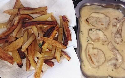 Filet mignon à la crème et pommes frites maison