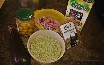 Salade de lentilles et tofu aux aubergines (Vegan)