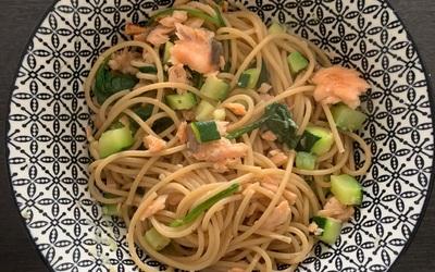 Spaghettis saumon-courgette