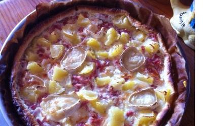Pizza chèvre lardons pomme de terre