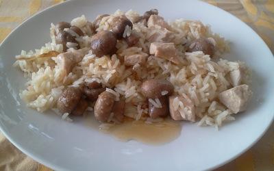 Riz, poulet, chapignons et oignons au miel