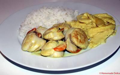 Saint-Jacques & pommes au lait de coco, curry