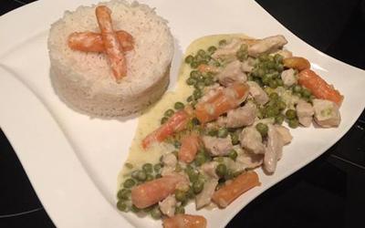 Poulet aux petits pois/carottes