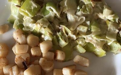 Fondue de poireaux aux St-Jacques 300 calories