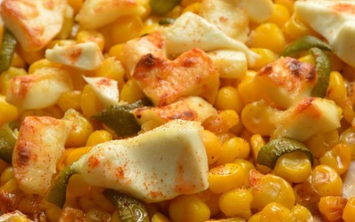 Maïs et poivron rôti au chèvre