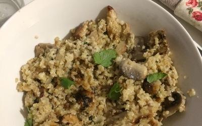 Risotto de boulghour (champignons et poulet).