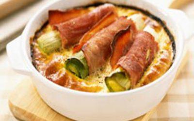 Clafoutis jambon et poireaux