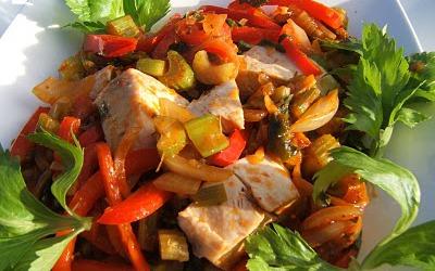 Wok de poulet aux poivrons