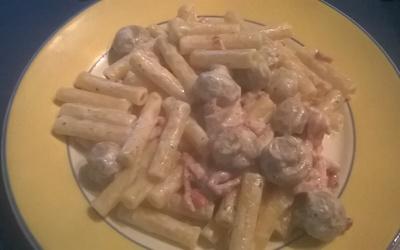 Pâtes aux lardons, champignons et boursin