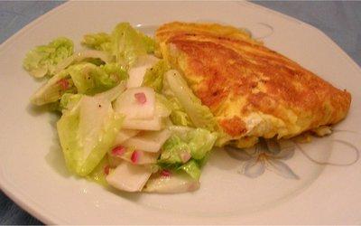 Omelette aux poireaux et pommes de terres