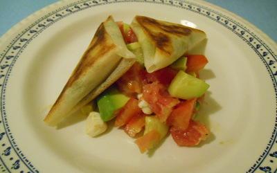 Bricks chèvre courgette et salade d'agrumes