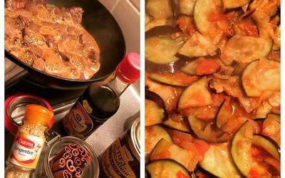 Boeuf sucré salé avec aubergine provençale