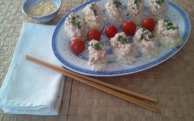 riz thon et mayo,façon sushis