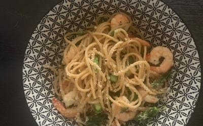 Spaghettis asperges-crevettes