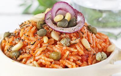 Riz sauce tomate/poivron/mozza