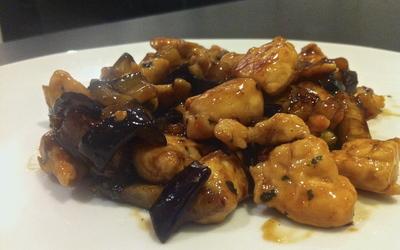 Wok poulet aubergines sauce Yakitori