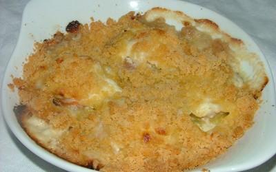 Crumble de noix de St Jacques aux poireaux