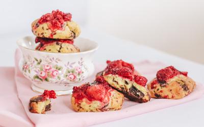 Cookies framboises et pépites de chocolat
