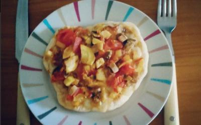 Pizza aux légumes à la poêle
