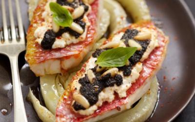 Filets de rougets aux olives noires