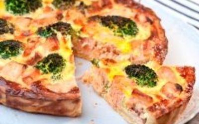 tarte saumon- brocolis et chévre ( à tomber!)
