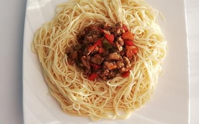 Spaghettis sauce légumes du soleil