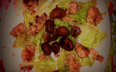 Salade de boudin blanc, marrons et noix