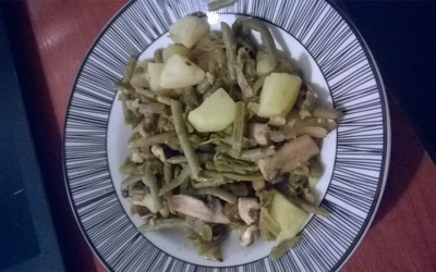 Poêlée haricots patates champi