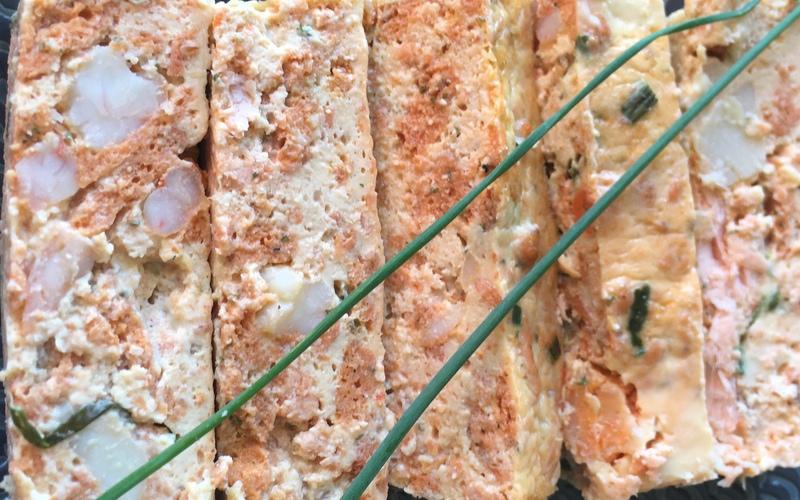 Terrine de Saumon, noix de St Jacques et Crevettes