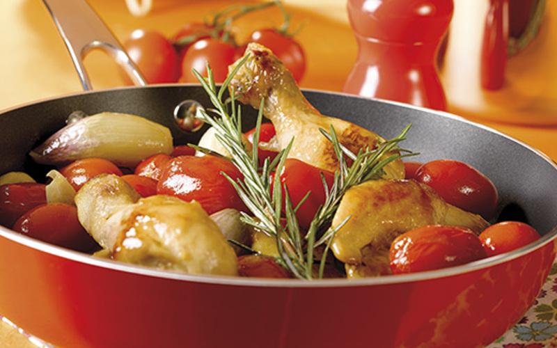 Cocotte  de poulet aux tomates cerises