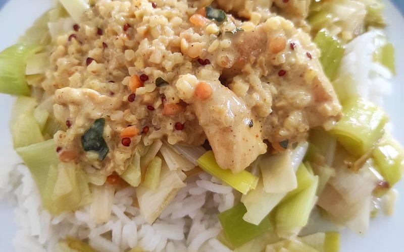 Poulet Curry, fondue de poireaux