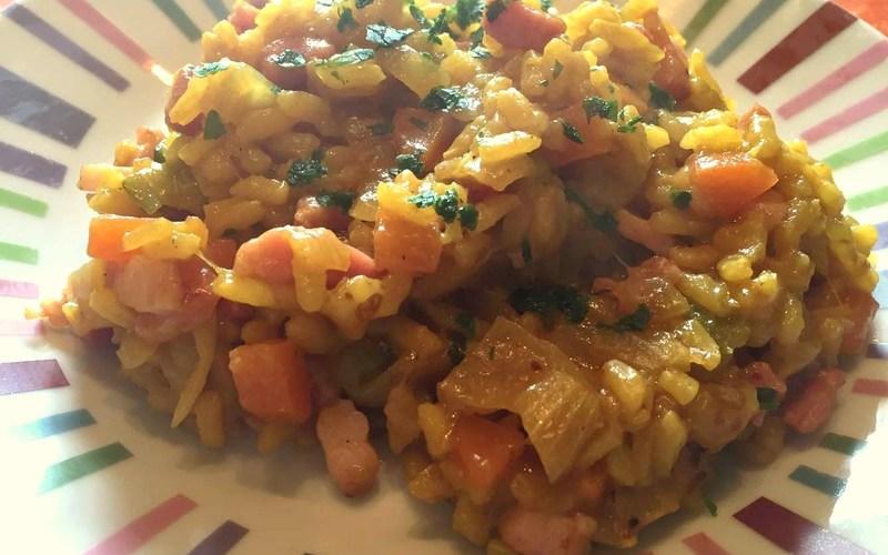 Risotto aux courgettes, carottes et lardons