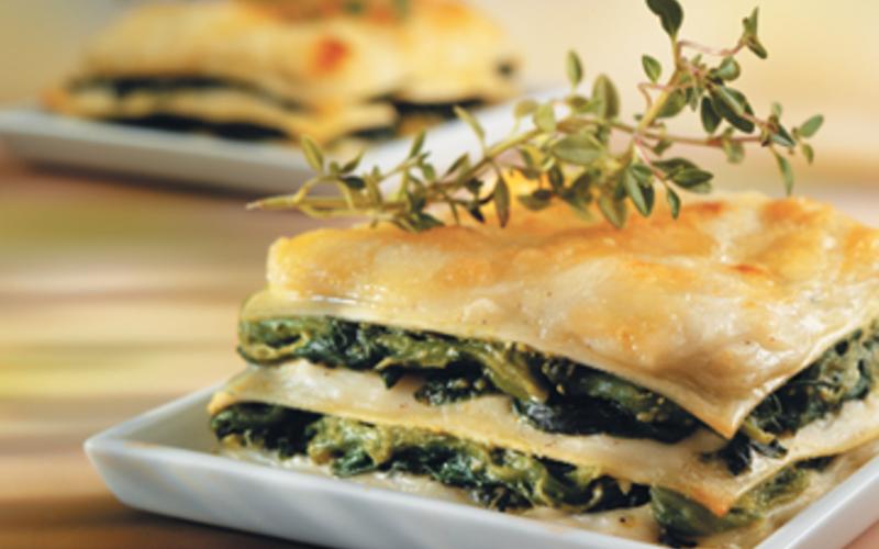 Lasagnes au chèvre et aux épinards
