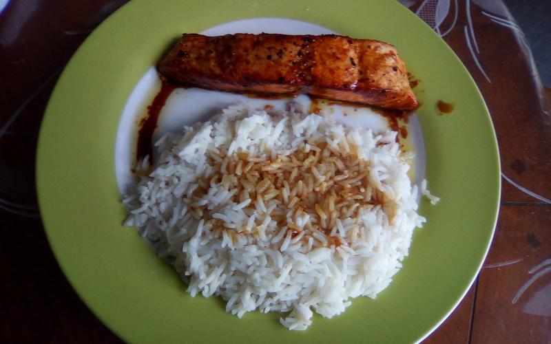 Pavé de saumon sauce balsamique avec riz basmati