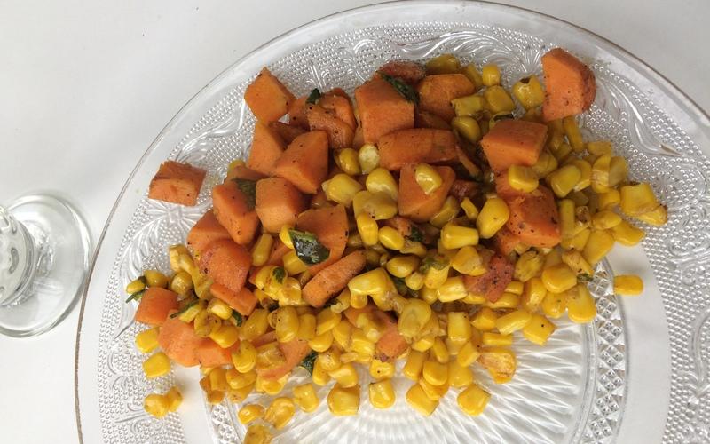 Poêlée de patates douces et maïs.