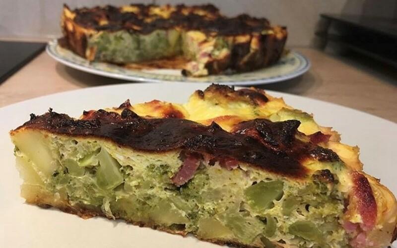 Flan de légumes (brocolis-courgettes-lardons)