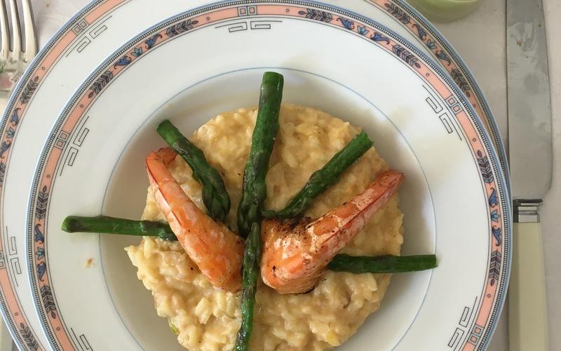 Risotto aux crevettes + asperges avec sa crème