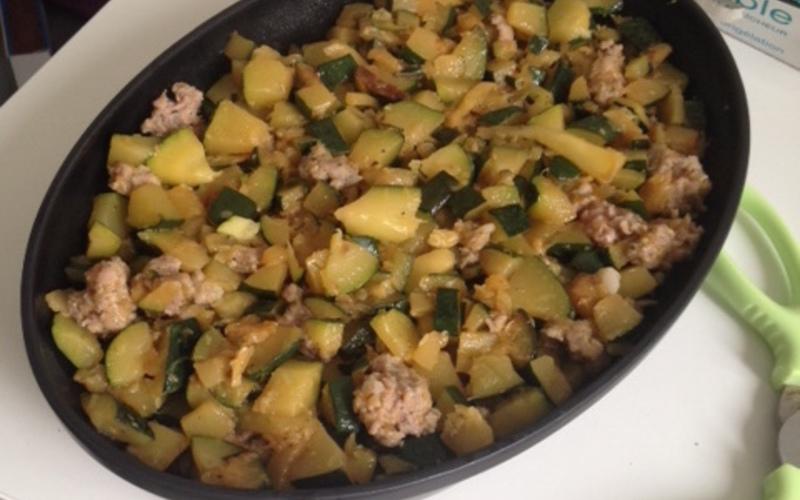 Courgettes à la chair à saucisse (variante gratin)