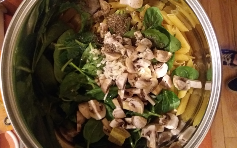 One pot pasta épinards champignons