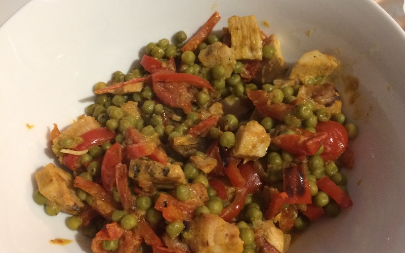 Curry de petits pois et poulet